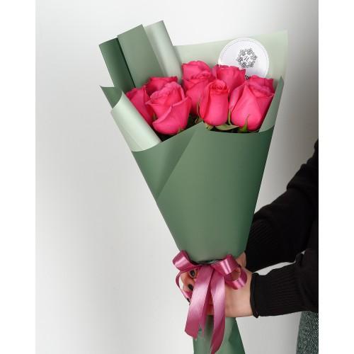 Купить на заказ Букет из 7 розовых роз с доставкой в Туркестане