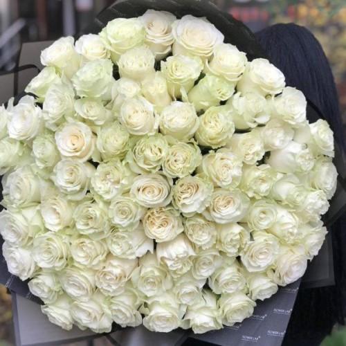 Купить на заказ Букет из 75 белых роз с доставкой в Туркестане