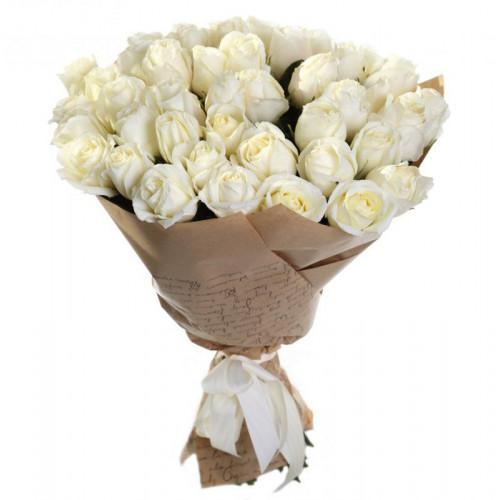 Купить на заказ Букет из 35 белых роз с доставкой в Туркестане