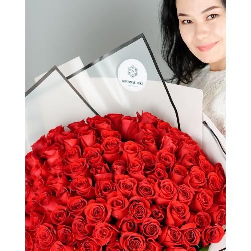 Купить на заказ Букет из 101 красной розы с доставкой в Туркестане