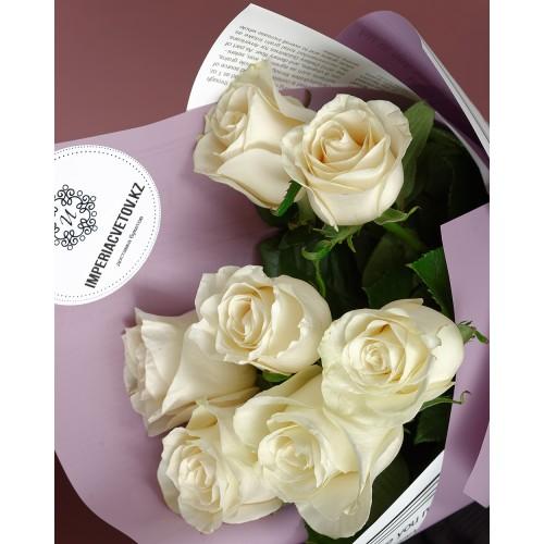 Купить на заказ Букет из 7 белых роз с доставкой в Туркестане