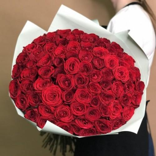 Купить на заказ Букет из 75 красных роз с доставкой в Туркестане