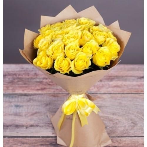 Купить на заказ Букет из желтых роз с доставкой в Туркестане