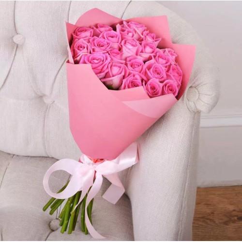 Купить на заказ Букет из 21 розовой розы с доставкой в Туркестане