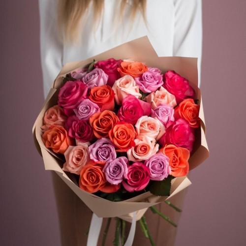 Купить на заказ Букет из 25 роз (микс) с доставкой в Туркестане