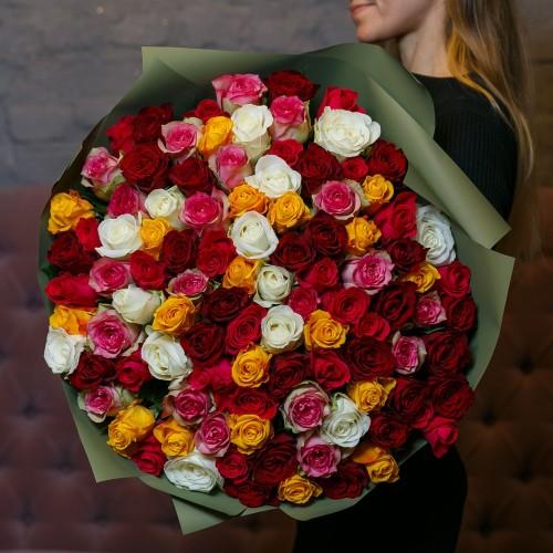 Купить на заказ Букет из 101 розы (микс) с доставкой в Туркестане
